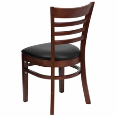HERCULES Ladder Back Mahogany Wood Chair with Black Vinyl Seat - XU-DGW0005LAD-MAH-BLKV-GG