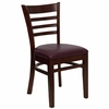 HERCULES Ladder Back Mahogany Wood Chair with Burgundy Vinyl Seat - XU-DGW0005LAD-MAH-BURV-GG