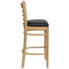 HERCULES Ladder Back Natural Wood Bar Stool with Black Vinyl Seat - XU-DGW0005BARLAD-NAT-BLKV-GG