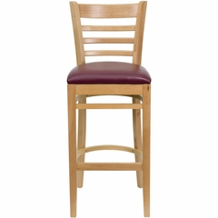 HERCULES Ladder Back Natural Wood Bar Stool with Burgundy Vinyl Seat - XU-DGW0005BARLAD-NAT-BURV-GG