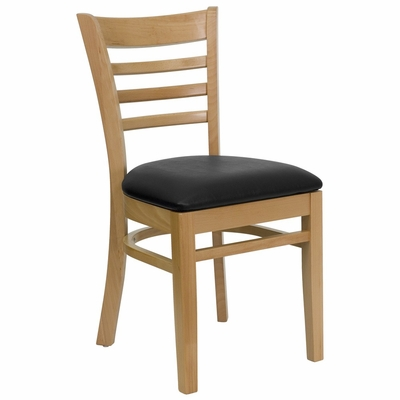 HERCULES Ladder Back Natural Wood Chair with Black Vinyl Seat - XU-DGW0005LAD-NAT-BLKV-GG