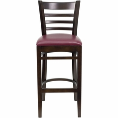 HERCULES Ladder Back Walnut Wood Bar Stool with Burgundy Vinyl Seat - XU-DGW0005BARLAD-WAL-BURV-GG