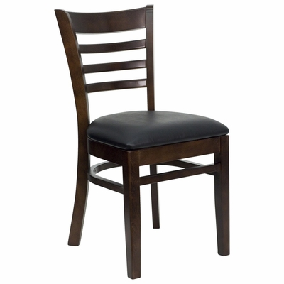 HERCULES Ladder Back Walnut Wood Chair with Black Vinyl Seat - XU-DGW0005LAD-WAL-BLKV-GG