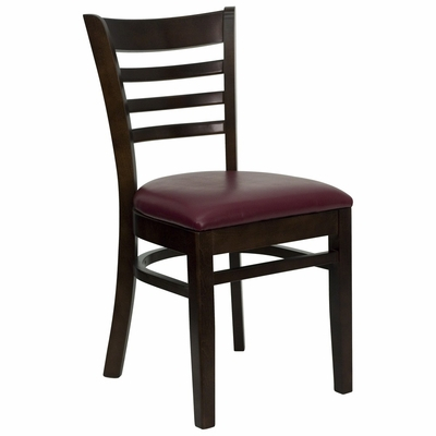 HERCULES Ladder Back Walnut Wood Chair with Burgundy Vinyl Seat - XU-DGW0005LAD-WAL-BURV-GG