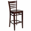 HERCULES Ladder Back Wood Bar Stool with Mahogany Finish - XU-DGW0005BARLAD-MAH-GG