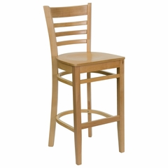 HERCULES Ladder Back Wood Bar Stool with Natural Finish - XU-DGW0005BARLAD-NAT-GG
