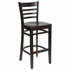 HERCULES Ladder Back Wood Bar Stool with Walnut Finish - XU-DGW0005BARLAD-WAL-GG
