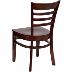 HERCULES Ladder Back Wood Chair with Mahogany Finish - XU-DGW0005LAD-MAH-GG