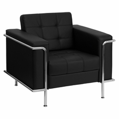 HERCULES Lesley Series Contemporary Black Leather Chair with Encasing Frame - ZB-LESLEY-8090-CHAIR-BK-GG