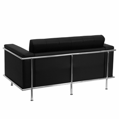 HERCULES Lesley Series Contemporary Black Leather Love Seat with Encasing Frame - ZB-LESLEY-8090-LS-BK-GG