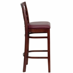 HERCULES Mahogany Finished Window Back Wooden Restaurant Bar Stool - Burgundy Vinyl Upholstered Seat - XU-DGW0007BARWIN-MAH-BURV-GG
