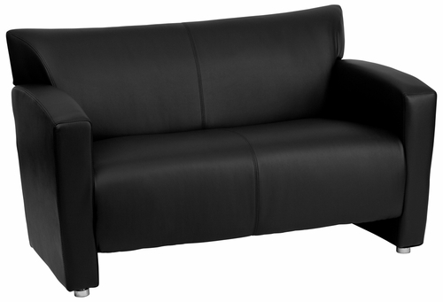 HERCULES Majesty Series Black Leather Love Seat  - 222-2-BK-GG