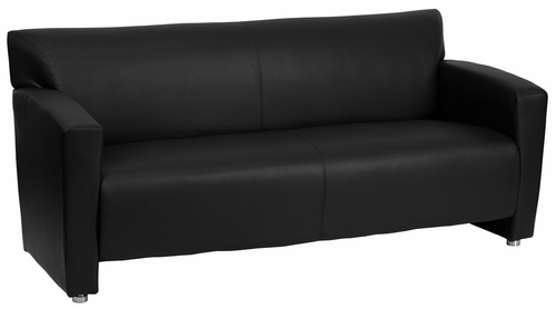 HERCULES Majesty Series Black Leather Sofa  - 222-3-BK-GG