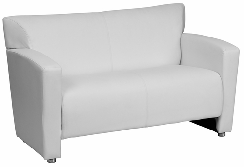 HERCULES Majesty Series White Leather Love Seat  - 222-2-WH-GG