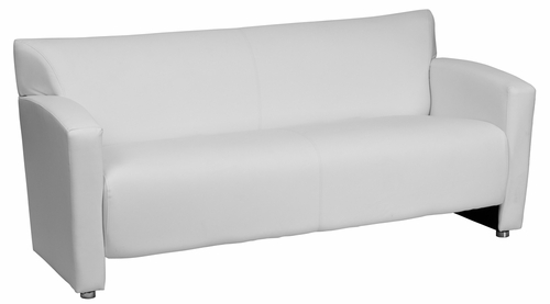 HERCULES Majesty Series White Leather Sofa - 222-3-WH-GG
