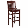 HERCULES Schoolhouse Back Wood Restaurant Bar Stool - Mahogany Finish - XU-DG-W0006BAR-MAH-GG