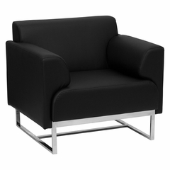 HERCULES Seany Series Contemporary Black Leather Chair with Stainless Steel Frame - ZB-SEANY-8073-CHAIR-BK-GG