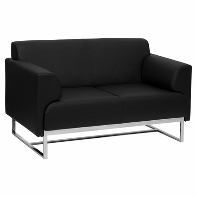 HERCULES Seany Series Contemporary Black Leather Love Seat with Stainless Steel Frame - ZB-SEANY-8073-LS-BK-GG