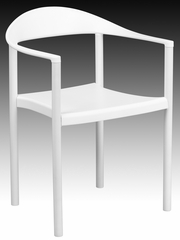 HERCULES Series 1000 lb. Capacity White Plastic Cafe Stack Chair  - RUT-418-WH-GG
