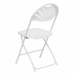 HERCULES Series 1000 lb. Capacity White Plastic Fan Back Folding Chair - LE-L-4-WHITE-GG