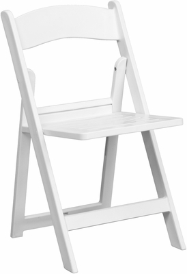 HERCULES Series 1000 lb. Capacity White Resin Folding Chair - LE-L-1-WH-SLAT-GG