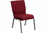 HERCULES Series 18.5'' Wide Burgundy Stacking Church Chair - Silver Vein Frame - XU-CH-60096-BY-SILV-GG