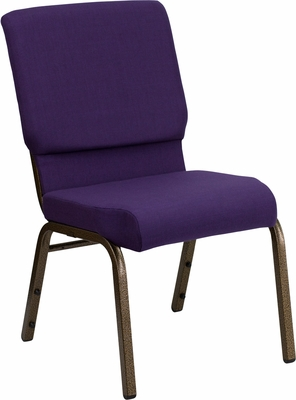 HERCULES Series 18.5'' Wide Royal Purple Stacking Church Chair - Gold Vein Frame - FD-CH02185-GV-ROY-GG