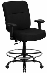 HERCULES Series 400 lb. Capacity Big & Tall Black Fabric Drafting Stool - WL-735SYG-BK-AD-GG