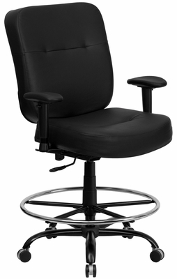 HERCULES Series 400 lb. Capacity Big & Tall Black Leather Drafting Stool - WL-735SYG-BK-LEA-AD-GG