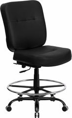HERCULES Series 400 lb. Capacity Big & Tall Black Leather Drafting Stool - WL-735SYG-BK-LEA-D-GG