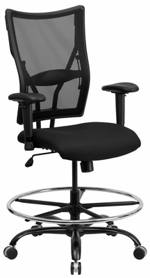 HERCULES Series 400 lb. Capacity Big & Tall Black Mesh Drafting Stool - WL-5029SYG-AD-GG