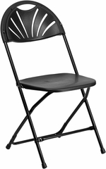 HERCULES Series 440 lb. Capacity Black Plastic Fan Back Folding Chair - BH-D0002-BK-GG