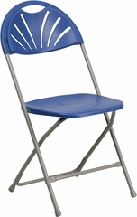 HERCULES Series 440 lb. Capacity Blue Plastic Fan Back Folding Chair - BH-D0002-BL-GG
