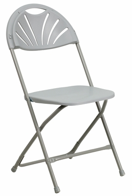 HERCULES Series 440 lb. Capacity Gray Plastic Fan Back Folding Chair - BH-D0002-GY-GG