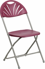 HERCULES Series 440 lb. Capacity Plastic Fan Back Folding Chair - BH-D0002-BG-GG