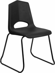HERCULES Series 500 lb. Capacity Black Plastic Sled Base Stack Chair - FD-BLK-BK-GG