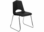 HERCULES Series 500 lb. Capacity Black Plastic Stack Chair with Chrome Frame - FD-BLK-CHR-GG