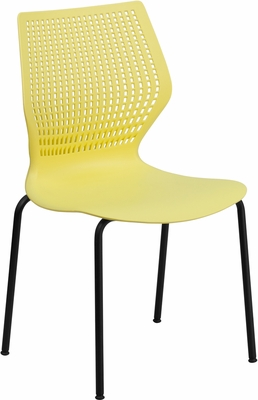 HERCULES Series 770 lb. Capacity Designer Yellow Stack Chair - RUT-358-YL-GG