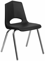 HERCULES Series 800 lb. Capacity Black Plastic Stack Chair with Chrome Frame - FD-4LG-CHR-BK-GG