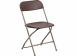 HERCULES Series 800 lb. Capacity Premium Brown Plastic Folding Chair - LE-L-3-BROWN-GG