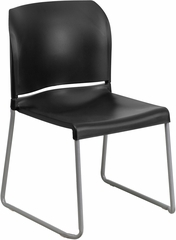 HERCULES Series 880 lb. Capacity Black Full Back Contoured Stack Chair - RUT-238A-BK-GG