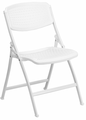 HERCULES Series 990 lb. White Designer Comfort Molded Folding Chair - RUT-NC398-WH-GG
