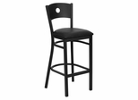 HERCULES Series Black Circle Back Metal Restaurant Bar Stool - Black Vinyl Seat - XU-DG-60120-CIR-BAR-BLKV-GG