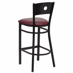HERCULES Series Black Circle Back Metal Restaurant Bar Stool - Burgundy Vinyl Seat - XU-DG-60120-CIR-BAR-BURV-GG
