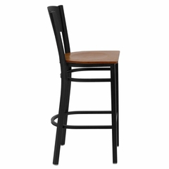 HERCULES Series Black Circle Back Metal Restaurant Bar Stool - Cherry Wood Seat - XU-DG-60120-CIR-BAR-CHYW-GG