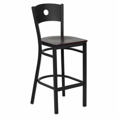 HERCULES Series Black Circle Back Metal Restaurant Bar Stool - Mahogany Wood Seat - XU-DG-60120-CIR-BAR-MAHW-GG