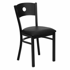 HERCULES Series Black Circle Back Metal Restaurant Chair - Black Vinyl Seat - XU-DG-60119-CIR-BLKV-GG