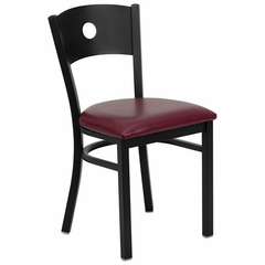 HERCULES Series Black Circle Back Metal Restaurant Chair - Burgundy Vinyl Seat - XU-DG-60119-CIR-BURV-GG