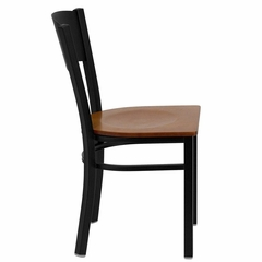 HERCULES Series Black Circle Back Metal Restaurant Chair - Cherry Wood Seat - XU-DG-60119-CIR-CHYW-GG