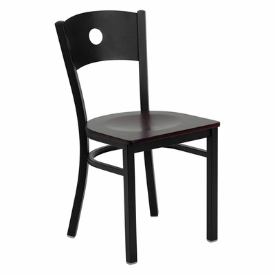 HERCULES Series Black Circle Back Metal Restaurant Chair - Mahogany Wood Seat - XU-DG-60119-CIR-MAHW-GG